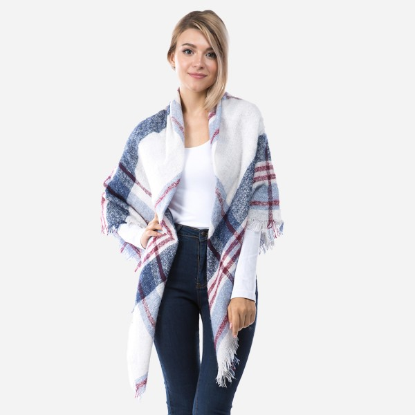 """Cozy Loose Knit Plaid Print Blanket Scarf.  - Approximately 60"""" x 60"""" - 100% Polyester"""