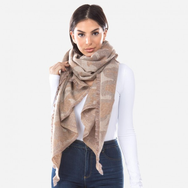 "Camouflage Knit Bias Cut Scarf.  - Approximately 26""W x 70""L - 100% Polyester"