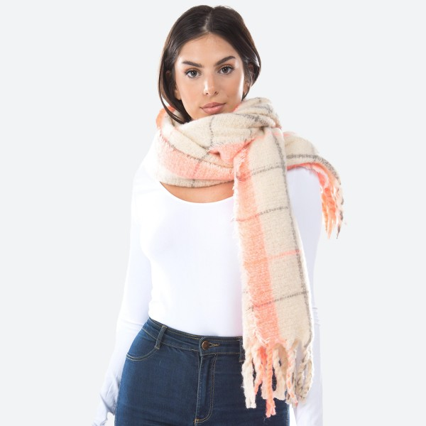 """Oversized Fuzzy Knit Plaid Print Scarf Featuring Tassels.  - Approximately 21""""W x 72""""L - 100% Polyester"""