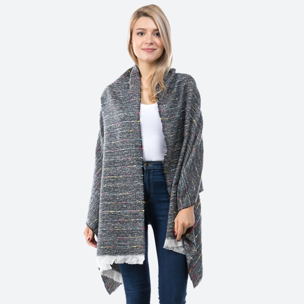 """Marled Knit Confetti Oblong Scarf.  - Approximately 27""""W x 70""""L  - 100% Polyester"""