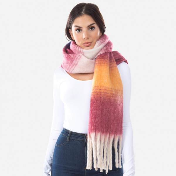 """Oversized Fuzzy Knit Ombre Scarf Featuring Tassels.  - Approximately 15"""" W x 70"""" L + Tassels: 7""""  - 100% Polyester"""