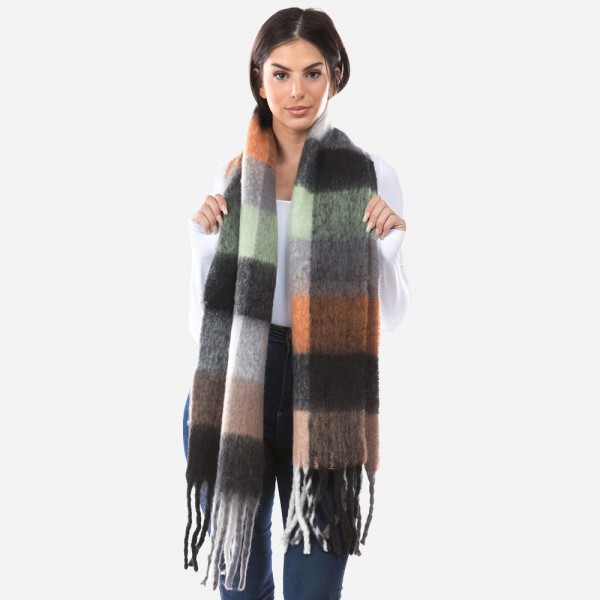 """Super Soft Furry Knit Plaid Oblong Scarf Featuring Tassels.  - Approximately 14""""W x70""""L + Tassel: 7"""" - 100% Polyester"""