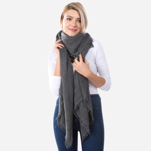 "Oversized Thin Knit Solid Blanket Scarf.  - Approximately 70"" x 70""  - 50% Acrylic / 50% Nylon / 30% Polyester / 10% Wool"