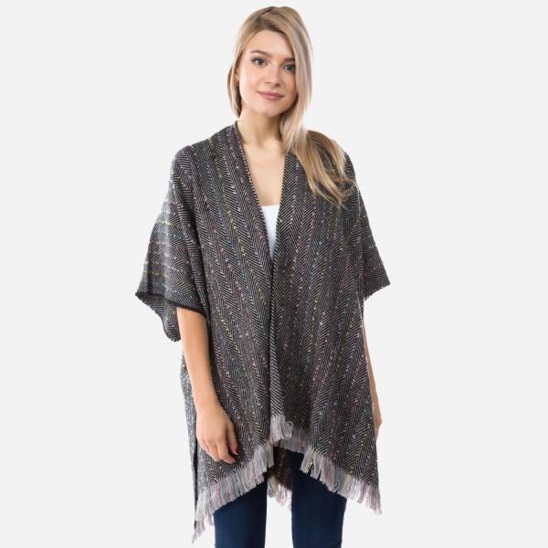 "Women's Herringbone Color Stipe Kimono.  - One size fits most 0-14 - Approximately 35"" L  - 100% Acrylic"