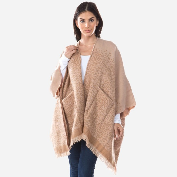 "Women's Winter Knit Leopard Print Ombre Kimono.  - One size fits most 0-14 - Approximately 37"" L - 100% Acrylic"