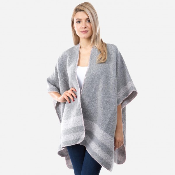 "Women's Winter Fuzzy Knit Kimono Featuring Bordered Whipstitch Trim.  - One size fits most 0-14 - Approximately 37"" L - 100% Polyester"