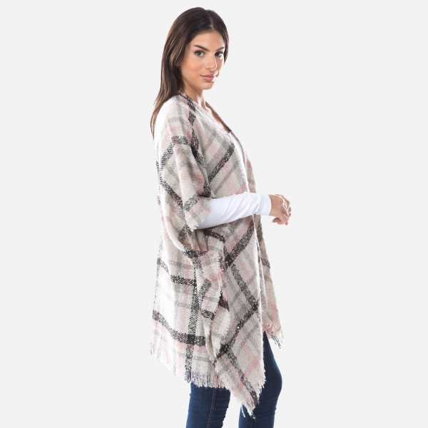 "Women's Plaid Woven Kimono Featuring Gold Metallic Accents.  - One size fits most 0-14 - Approximately 30"" Long - 100% Polyester"