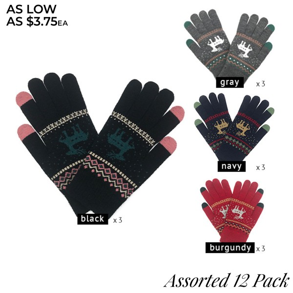 Do everything in Love Brand Assorted Gloves Featuring Knitted Reindeer Design. (12 Pack)  - One size fits most - 12 Pair Individually Packed Per Pack - 4 Assorted Colors - 3 Black / 3 Grey / 3 Red / 3 Navy - 100% Acrylic
