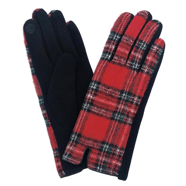 Wholesale do everything Love Brand Plaid Print Smart Touch Gloves Touchscreen Co