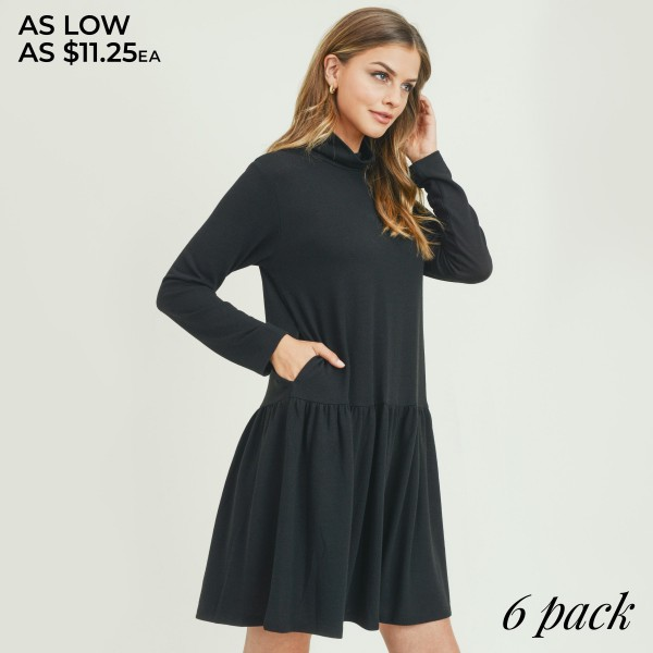 "Women's Turtleneck Peplum Hem Sweater Swing Dress Featuring Pockets. (6 Pack)  • Long sleeves • Turtleneck • Peplum knee-length hem • Crafted from soft, breathable cotton blend fabric • Relaxed fit • Imported  - Pack Breakdown: 6 Dresses Per Pack - Size: 2-S / 2-M / 2-L  - Approximately 34"" L - 80% Polyester, 16% Cotton, 4% Spandex"