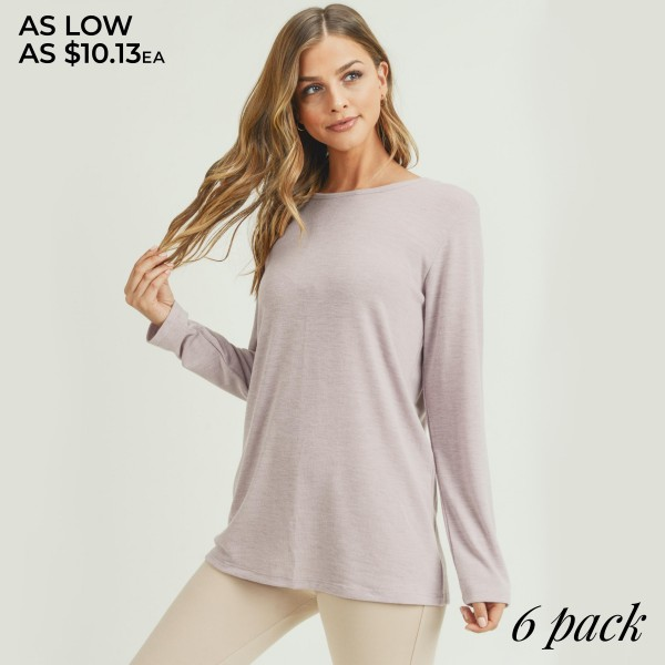 Women's Heather Knit Long Sleeve Racerback Relaxed Fit Top.. (6 PACK)  • Long sleeves • Crew neckline • Relaxed hem • Soft, heather knit fabric with stretch • Back detailing • Pullover styling • Imported  - Pack Breakdown: 6 Tops Per Pack - Sizes: 2-S / 2-M / 2-L  - 80% Polyester, 16% Cotton, 4% Spandex