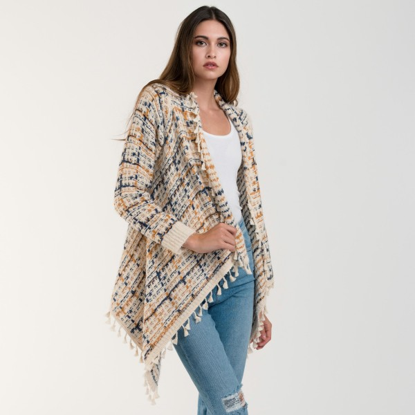 "Do everything in Love Brand Multicolor Yarn Knit Cardigan Featuring Tassel Trim & Cuffed Sleeves.  - Tassel Trim  - Cuff Sleeve  - One size fits most  - Approximately 30"" L in Back - Approximately 35"" L Front  - 50% Acrylic / 50% Polyester"
