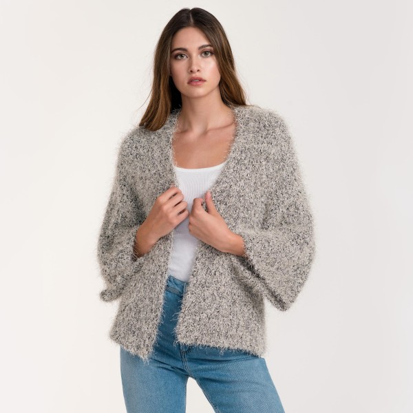 "Do everything in Love Brand Short Fuzzy Metallic Knit Cardigan.  - One size fits most 0-14 - Approximately 25"" L - 65% Polyester / 35% Acrylic"