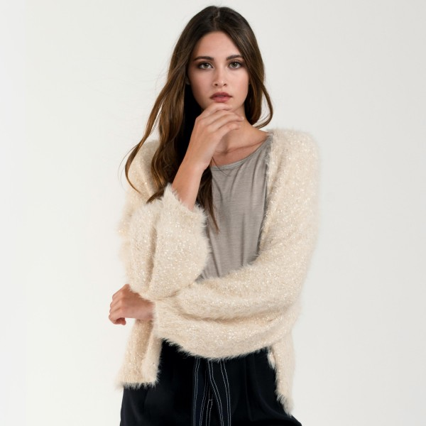 "Do everything in Love Brand Short Fuzzy Lurex Knit Cardigan Featuring Balloon Sleeves.  - One size fits most 0-14 - Approximately 20"" L - 50% Polyamide / 50% Nylon"