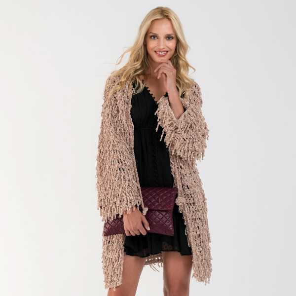 """Do everything in Love Brand Beige Chenille Shag Cardigan.  - One size fits most 0-14 - Front Tie Closure - Approximately 34"""" L - 100% Polyester"""