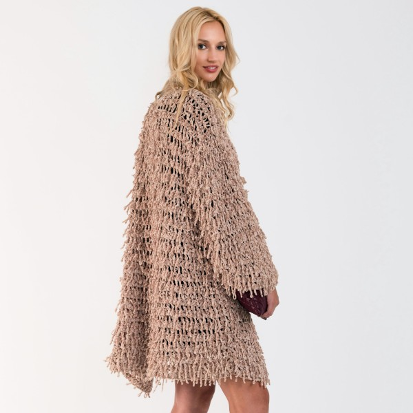 "Do everything in Love Brand Beige Chenille Shag Cardigan.  - One size fits most 0-14 - Front Tie Closure - Approximately 34"" L - 100% Polyester"