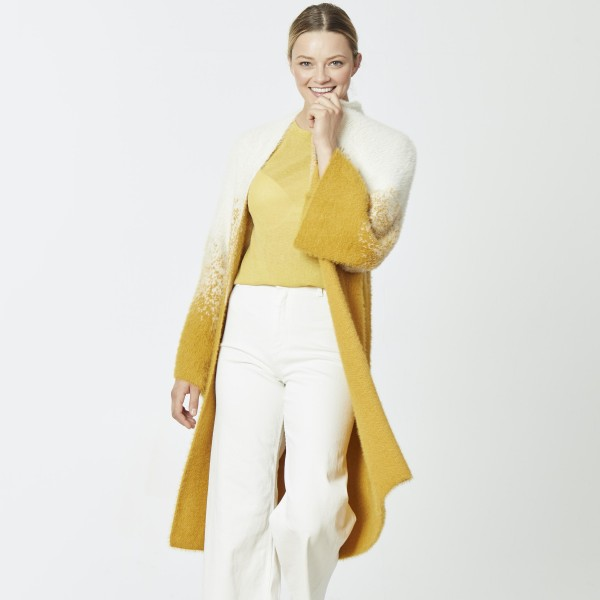 """Do everything in Love Brand Fuzzy Knit Ombre Mustard Cardigan.  - One size fits most 0-14 - Approximately 37""""L  - 70% Nylon / 30% Acrylic"""