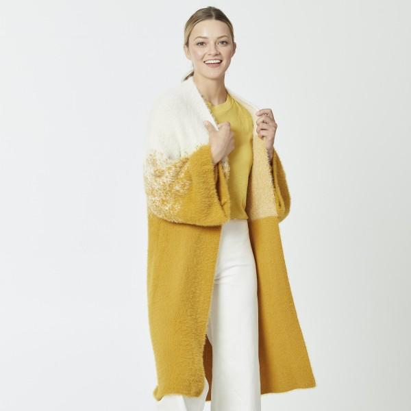 "Do everything in Love Brand Fuzzy Knit Ombre Mustard Cardigan.  - One size fits most 0-14 - Approximately 37""L  - 70% Nylon / 30% Acrylic"