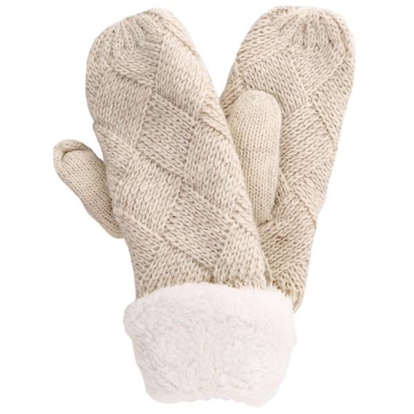 Assorted Diamond Pattern Knit Sherpa Mittens. (12 Pack)  - One size fits most - Assorted 12 Pack  - 12 Pair Individually Packed Per Pack - 4-Black / 2-Grey / 2-Khaki / 2-Lt Grey / 2-Beige - 100% Acrylic