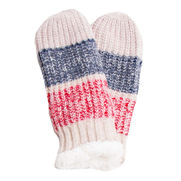 Assorted Colorblock Knit Sherpa Mittens.  - One size fits most - Assorted 12 Pack  - 12 Pair Individually Packed Per Pack - 2-Blue / 2-Black / 2-Wine / 2-Beige / 2-Grey / 2-Pink - 100% Acrylic