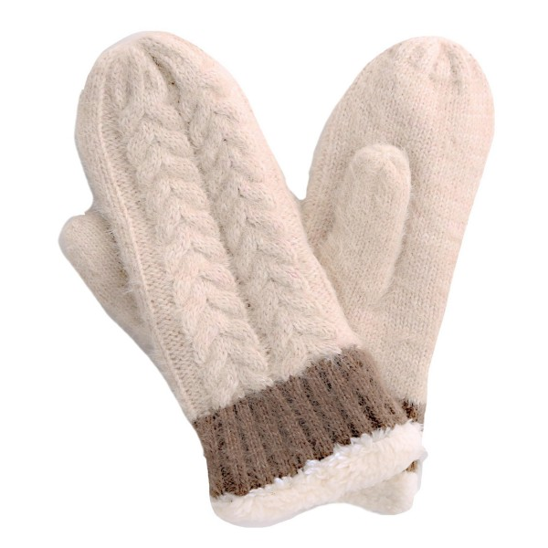 Assorted Fuzzy Knit Sherpa Mittens. (12 Pack)  - - One size fits most - Assorted 12 Pack - 12 Pair Individually Packed Per Pack - 4-Black / 3-Beige / 2-White / 2-Pink / 1-Wine - 100% Acrylic