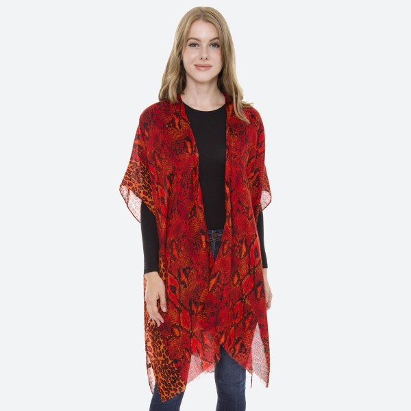 "Women's Lightweight Silky Snakeskin Kimono.  - One size fits most 0-14 - Approximately 37"" L - 20% Cotton / 80% Viscose"