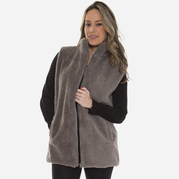 """Women's Sherpa Vest Featuring Pockets.  - Front Zipper Closure - Front Pockets - One size fits most 0-14 - Approximately 30"""" L - 100% Polyester"""