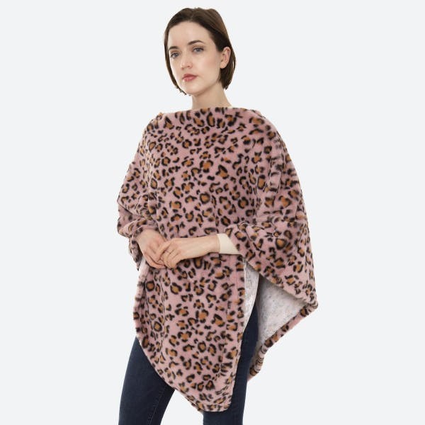"Women's Pink Faux Fur Leopard Print Poncho.  - One size fits most 0-14 - Approximately 35"" L - 100% Polyester"