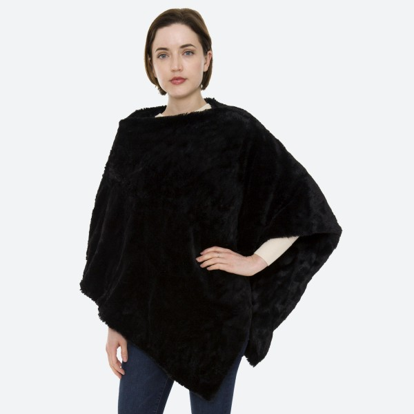 """Women's Solid Faux Fur Poncho.  - One size fits most 0-14 - Approximately 35"""" L - 100% Polyester"""