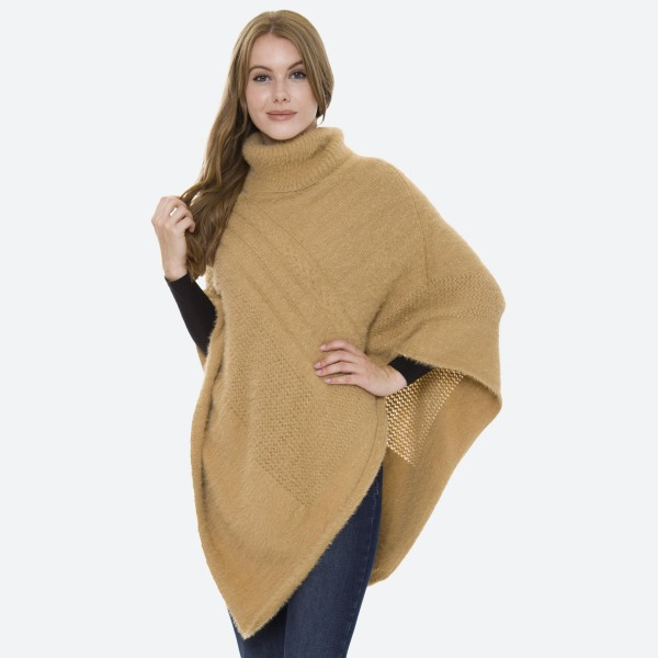 Women's Solid Turtleneck Knit Poncho.  - One size fits most 0-14 - 100% Acrylic