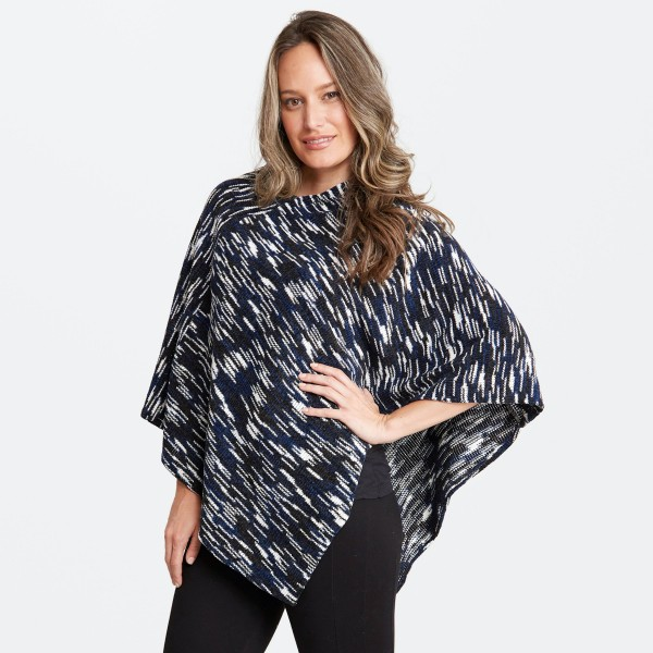"Women's Chenille Marled Knit Poncho.  - One size fits most 0-14 - Approximately 32"" Long - 100% Acrylic"