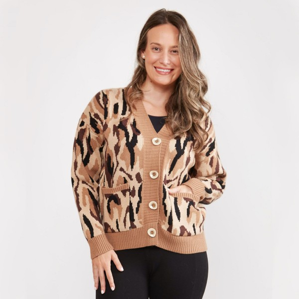 Women's Knit Camouflage Cardigan.  - Button Closure - Two Functional Front Pockets - One size fits most 0-14 - 100% Acrylic