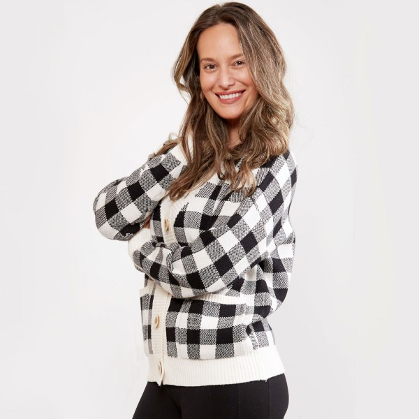 Women's Buffalo Check Knit Cardigan.  - Button Closure - Two Functional Front Pockets - One size fits most 0-14 - 100% Acrylic