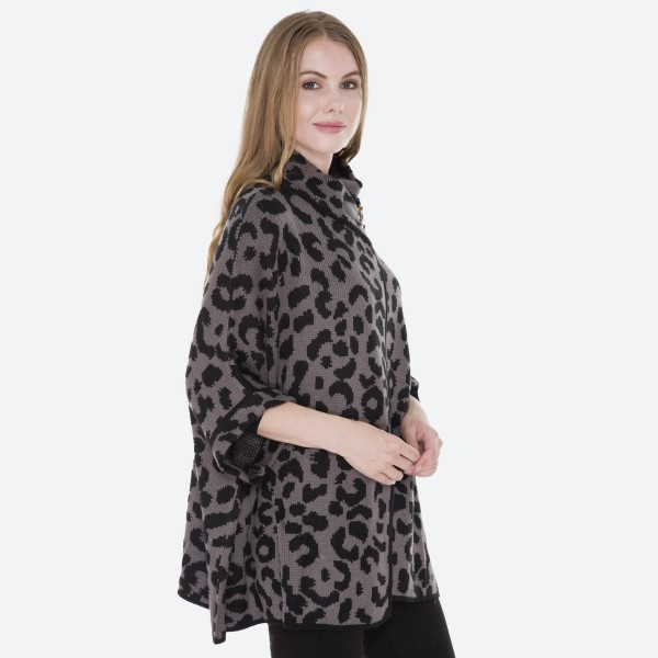 "Women's Leopard Print Knit Cowl Neck Poncho Sweater.  - One size fits most 0-14 - Approximately 30"" L - 100% Acrylic"