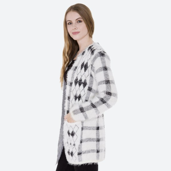 "Women's Diamond Plaid Print Fuzzy Knit Cardigan Featuring Pockets.  - Hook & Eye Closure - 2 Front Pockets - One size fits most 0-14 - Approximately 35"" L - 100% Polyester"