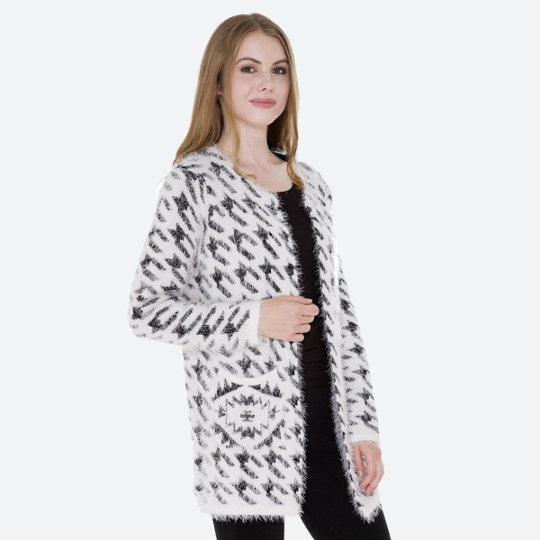 "Women's Houndstooth Fuzzy Knit Cardigan Featuring Pockets.  - Hook & Eye Closure - 2 Front Pockets - One size fits most 0-14 - Approximately 35"" L  - 100% Polyester"