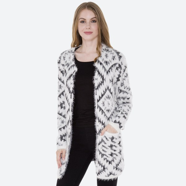 "Women's Aztec Fuzzy Knit Cardigan Featuring Pockets.  - Hook & Eye Closure - 2 Front Pockets - One size fits most 0-14 - Approximately 35"" L  - 100% Polyester"