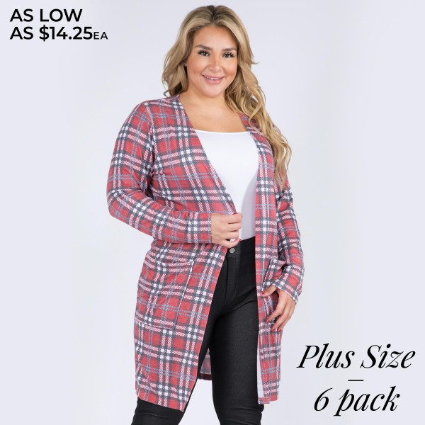 """Women's Plus Size Lightweight Plaid Print Maxi Cardigan Featuring Pockets. (6 Pack)  • Long sleeves • Open front design • Plaid print • Two stylish side pockets for keeping your hands warm • Crafted from a soft, breathable cotton blend fabric • Mid-calf length • Imported  - Pack Breakdown: 6 Cardigans Per Pack - Sizes: 2-XL / 2-2XL / 2-3XL - Approximately 40"""" L - 80% Polyester, 16% Cotton, 4% Spandex"""