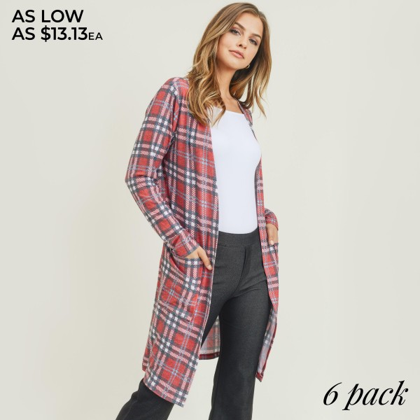 """Women's Lightweight Plaid Maxi Cardigan Featuring Pockets. (6 Pack)  • Long sleeves • Open front design • Plaid print • Two stylish side pockets for keeping your hands warm • Crafted from a soft, breathable cotton blend fabric • Mid-calf length • Imported  - Pack Breakdown: 6 Cardigans Per Pack - Sizes: 2-S / 2-M / 2-L  - Approximately 47"""" L - 80% Polyester, 16% Cotton, 4% Spandex"""