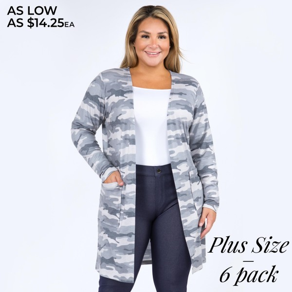 "Women's Plus Size Thin Knit Camouflage Cardigan with Pockets. (6 Pack)  • Long sleeves • Camouflage print throughout • Two side pockets keep your hands warm • Soft, comfortable cotton-blend fabric • Open front design • Relaxed fit • Perfect for topping off any outfit • Imported  - Pack Breakdown: 6 Cardigans Per Pack - Sizes: 2-XL / 2-XXL / 2-XXXL - Approximately 34"" L - 80% Polyester / 16% Cotton / 4% Spandex"