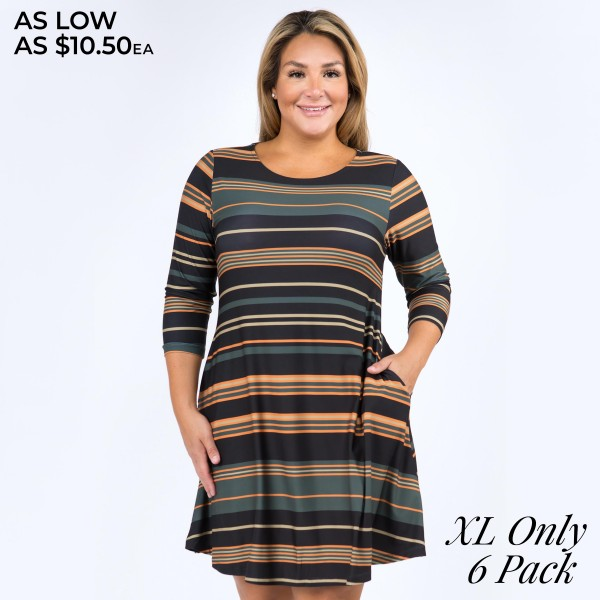 """Women's XL Multi Stripe Swing Dress Featuring Pockets. (6 Pack) (XL ONLY)  • 3/4 length sleeves and round neckline • Multi-striped pattern • Two side pockets to keep your hands warm • A-line swing silhouette • Knee-length hem • Soft, stretchy and comfortable fabric • Pull over styling • Imported  - Pack Breakdown: 6 Dresses Per Pack - Sizes: ALL 6 XL - Approximately 34"""" L - 90% Polyester / 10% Spandex"""
