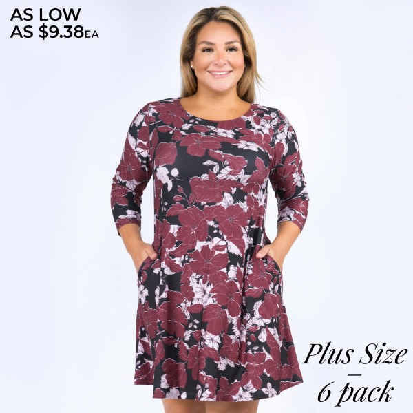 """Women's Plus Size Floral Blossom Dress Featuring 3/4 Sleeves. (6 PACK)  • Round neckline • Blossom floral print • 3/4 sleeves • Two pockets to keep your hands warm • A-line silhouette • Above the knee length • Soft and comfortable fabrication • Pull on/off design • Imported  - Pack Breakdown: 6 Dresses Per Pack - Sizes: 2-XL / 2-2XL / 2-3XL - Approximately 34"""" L  - 95% Polyester, 5% Spandex"""