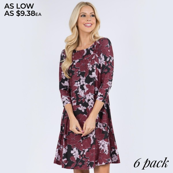 """Women's Floral Blossom Dress Featuring 3/4 Sleeves. (6 PACK)  • Round neckline • Blossom floral print • 3/4 sleeves • Two pockets to keep your hands warm • A-line silhouette • Above the knee length • Soft and comfortable fabrication • Pull on/off design • Imported  - Pack Breakdown: 6 Dresses Per Pack - Sizes: 2-S / 2-M / 2-L  - Approximately 34"""" L - 95% Polyester, 5% Spandex"""