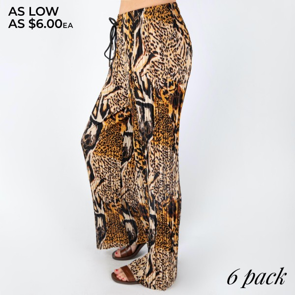 """Women's Pleated Leopard Print Palazzo Trouser Pants. (6 Pack)  - 2"""" Elastic Drawstring Waistband - Pleated Trouser Fit - Full Length - Inseam approximately 27"""" L  - 6 Pair of Pants Per Pack - 1-S / 2-M / 2-L / 1-XL  - 92% Polyester / 8% Spandex"""