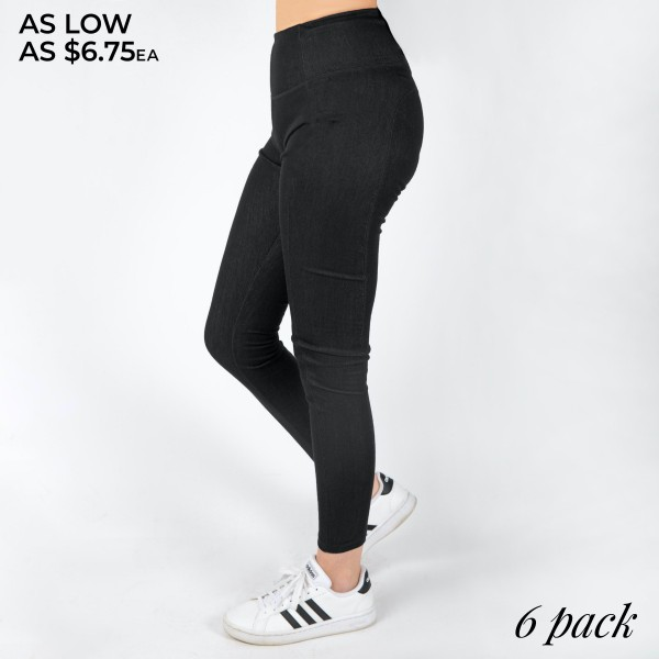 "Women's High Waisted Denim Style Leggings Featuring Tech Pocket. (6 Pack)  - 4"" Elastic Waistband - Denim Style - Full Length Legging - Right Side Tech Pocket - 6 Pair of Leggings Per Pack - Sizes: 2-S / 2-M / 2-L  - Inseam approximately 28"" Long  - 92% Polyester, 8% Spandex"