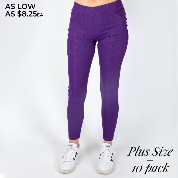 """Women's Plus Size Premium Denim Style Jeggings Featuring Back Pockets. (10 Pack)  - Pull on Styling  - Elastic Waistband  - Back Pockets  - Premium Denim Stretchy Material  - Pack Breakdown: 10 Pair Per Pack - Sizes: 5-1X/2X / 5-2X/3X - Inseam Approximately 29"""" L  - 75% Cotton, 17% Polyester, 8% Spandex"""
