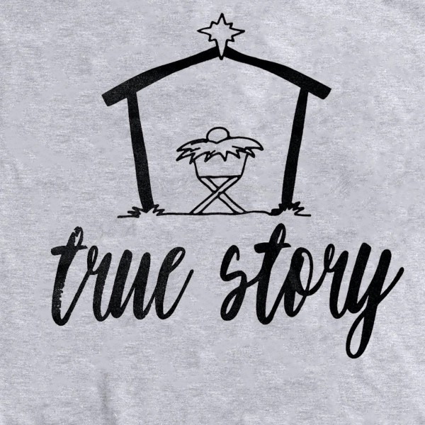 True Story Christmas Graphic Tee.  - Printed on a Gildan Softstyle Brand - Color: Grey - 6 Shirts Per Pack  - 1-S / 2-M / 2-L / 1-XL  - 100% Cotton