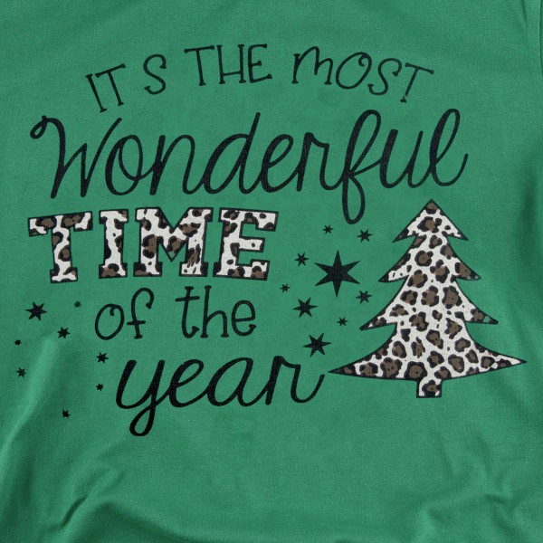 """It's The Most Wonderful Time of The Year"" Leopard Print Christmas Tee.  - Printed on a Bella Canvas Brand Tee - Color: Green - 6 Shirts Per Pack - 1-S / 2-M / 2-L / 1-XL - 100% Cotton"