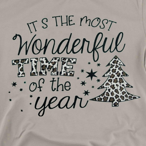 """It's The Most Wonderful Time of The Year"" Leopard Print Christmas Tee.  - Printed on a Bella Canvas Brand Tee - Color: Stone - 6 Shirts Per Pack - 1-S / 2-M / 2-L / 1-XL - 100% Cotton"