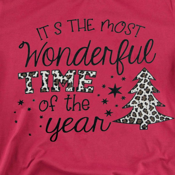 """It's The Most Wonderful Time of The Year"" Leopard Print Christmas Tee.  - Printed on a Bella Canvas Brand Tee - Color: Red - 6 Shirts Per Pack - 1-S / 2-M / 2-L / 1-XL - 100% Cotton"